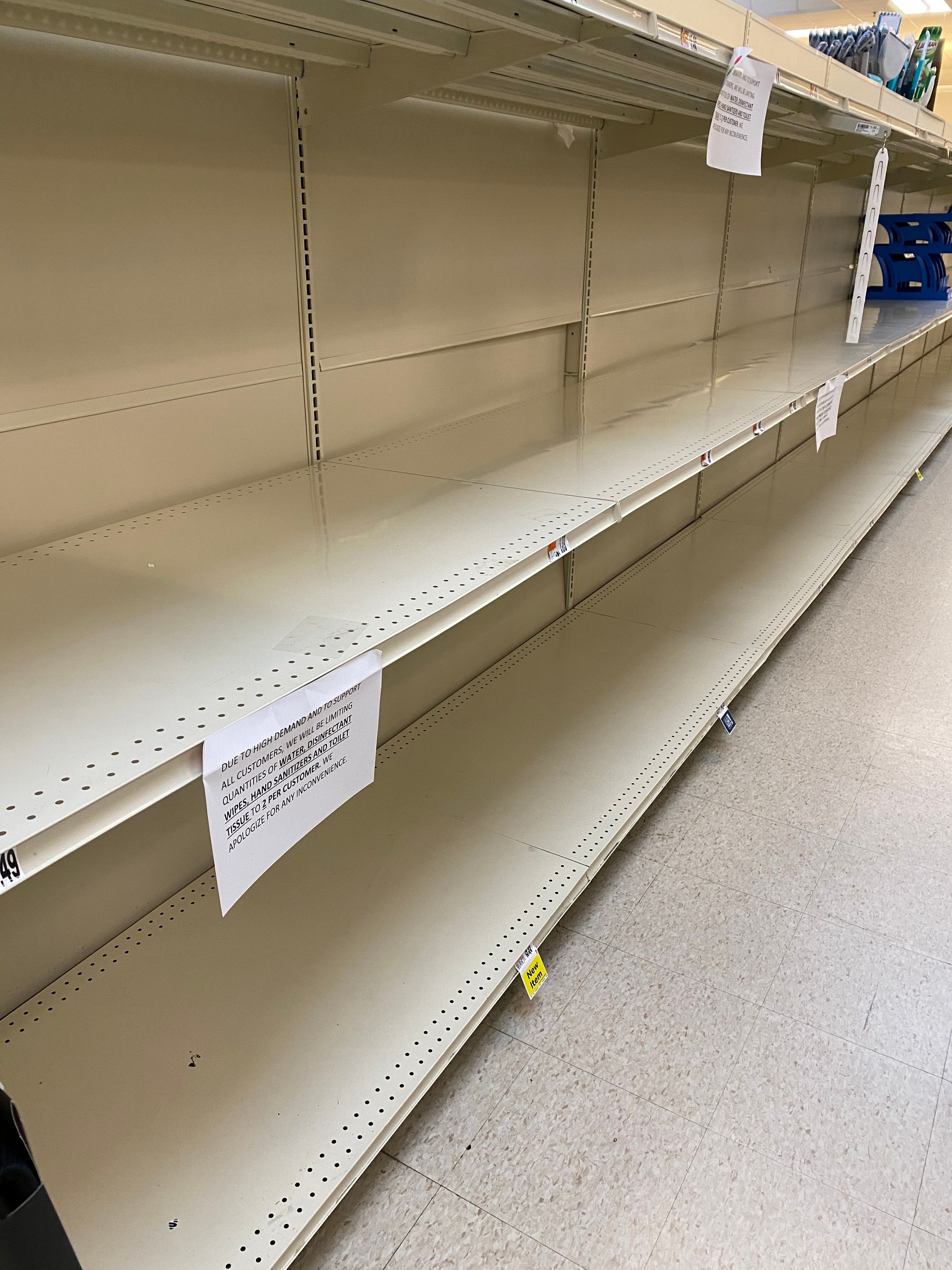 Empty shelves at grocery store